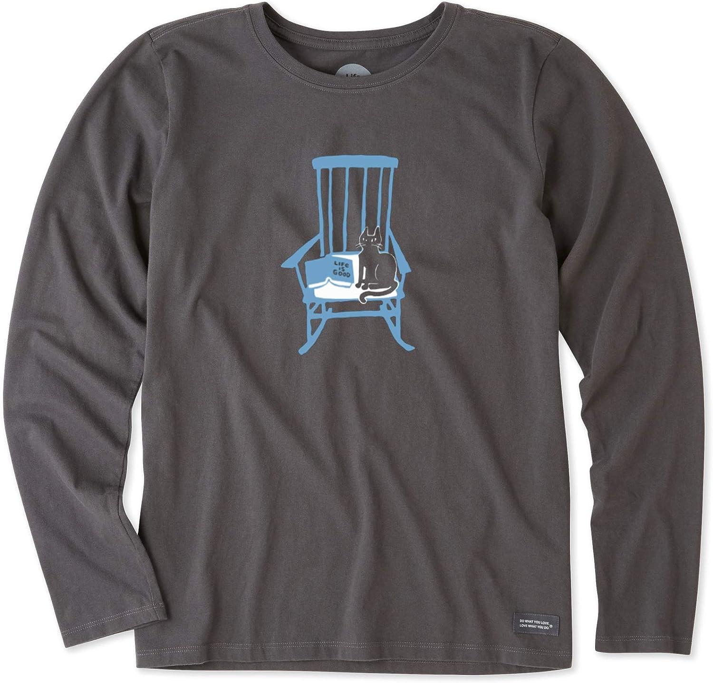Life is Good. Womens Long Sleeve Crusher Tee  Rocking Chair Cat  Night Black