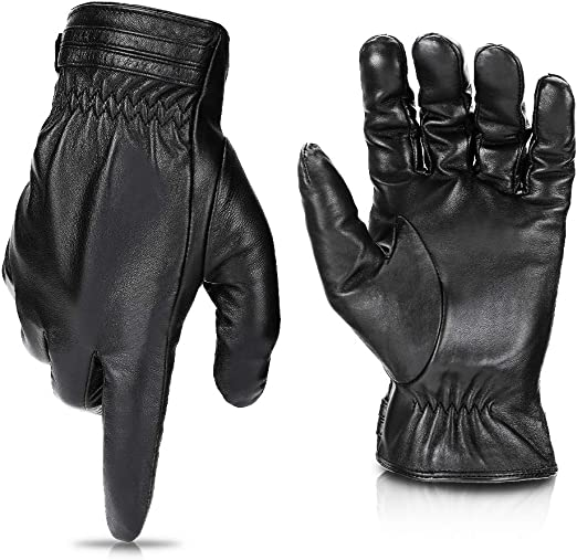 Motorcycle Winter Leather Gloves Touchscreen Motorcycle Gloves Black