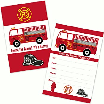 Fire Truck Kids Birthday Party Invitations for Boys (20 Count with Envelopes) Firefighter Fireman Party Supplies