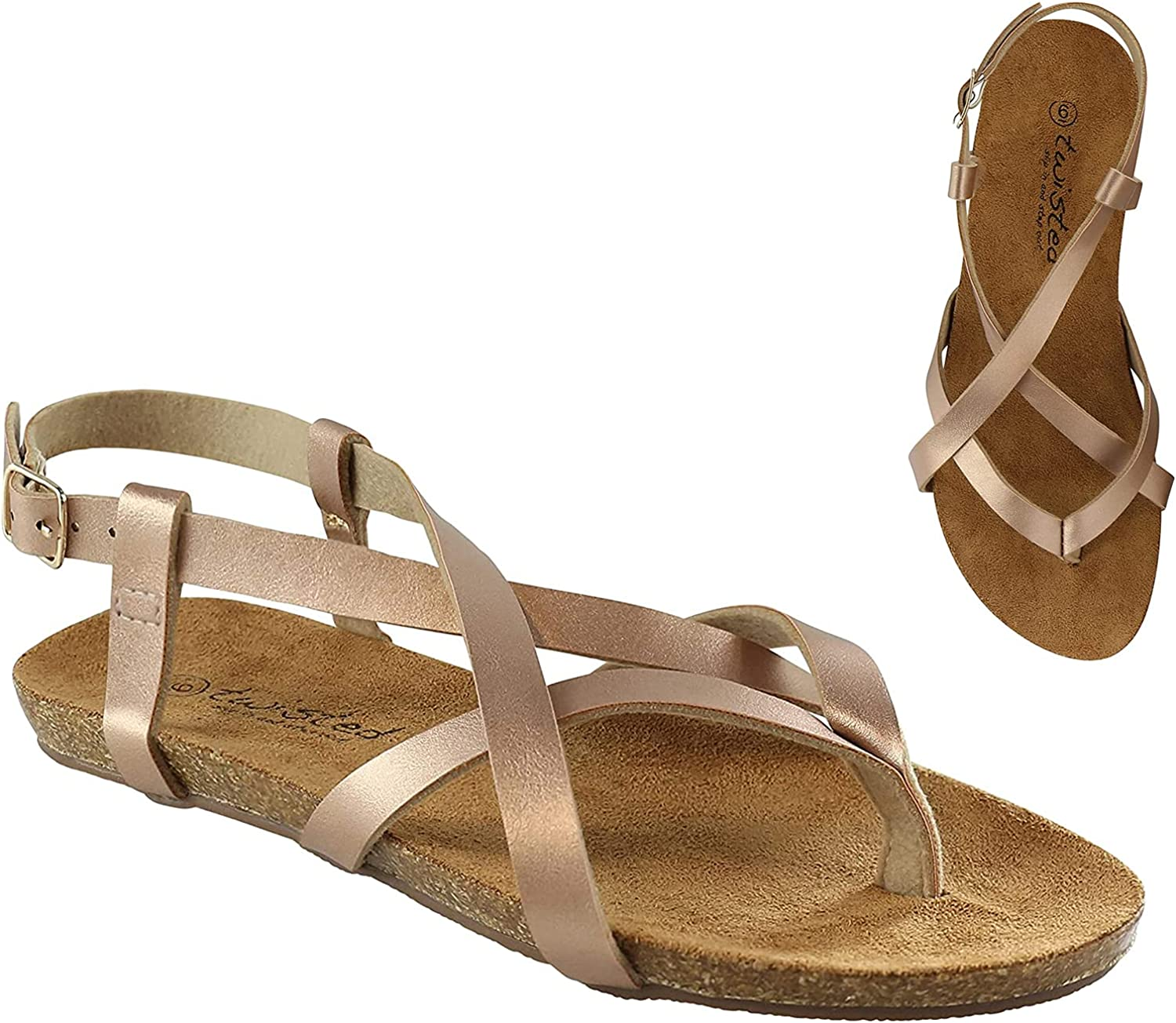 Twisted Gretta Fashion Criss Cross Straps Footbed Slip-on Sandals for Women