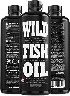 Wild Fish Oil, Omega-3 DPA, DHA, EPA FOS Certified, Super Strength 1,120mg Pure Omega-3, Batch Tested, Natural Lemon, BPA-...