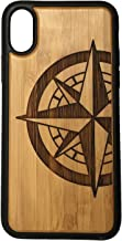 Compass Rose Phone Case Cover for iPhone X by iMakeTheCase | Bamboo Wood Cover + TPU Wrapped Edges | Tattoo Nautical Navigation | North South East West. Sailor Military.
