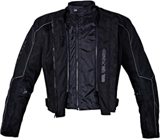 Men Motorcycle Mesh Race Jacket with CE Protection Black MBJ054 (L)