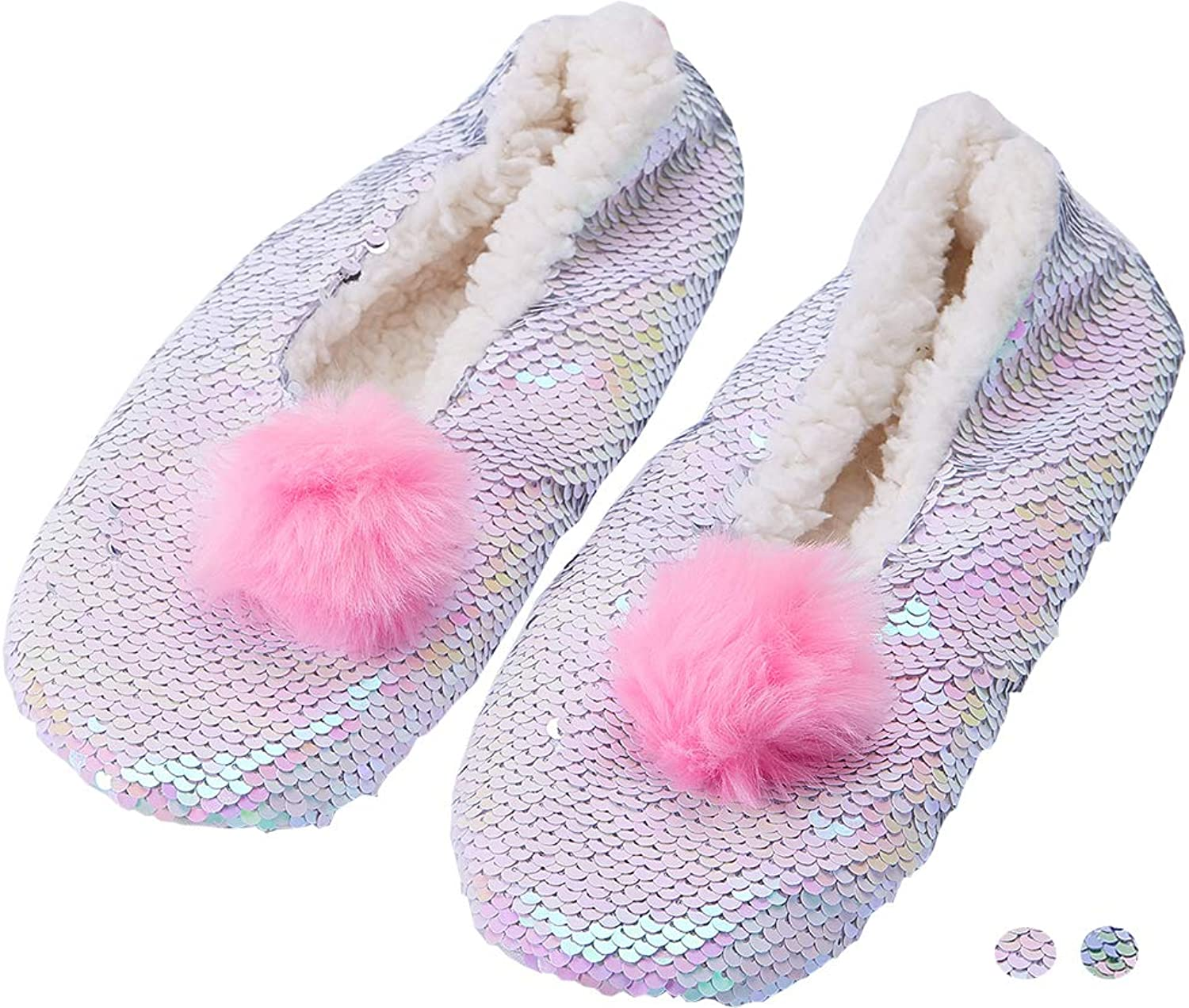 Dream Bridge Kids Girls Cozy Fuzzy Reversible Sequin Slipper Socks Indoor Bling Slippers Warm Fleece-Lined Indoor Non-Slip Magic Sequin Sock shoes Birthday Socks