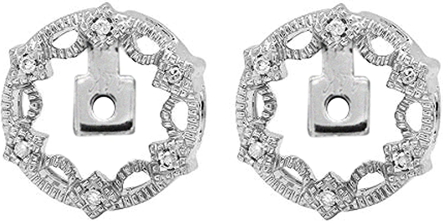 Dazzlingrock Collection 0.05 Carat (ctw) Round White Diamond Removable Jackets For Stud Earrings