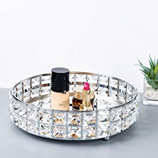 Feyarl Anti-Scratch Glass Mirror Surface Crystal Vanity Makeup Tray Ornate Jewelry Trinket Tray Organizer Sparkly Bling Co...