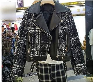 Elephant-Nose Fall Tweed Patch Pu Leather Jacket Women Streetwear Short Jackets Lapel Short Coatt