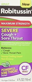Robitussin Adult Maximum Strength Severe Cough + Sore Throat Relief Medicine, Cough Suppressant, Acetaminophen (4 Fluid Ou...