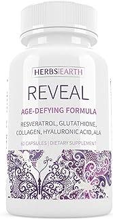 Reveal Glutathione Collagen Age Defy Whitening Glowing Skin, Hyaluronic Acid ALA Aloe Vera Resveratrol L Glycine Green Tea...
