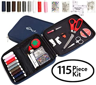 Craftster's Best Professional Sewing Kit + FREE BONUS EBOOK – Space Efficient Sewing Basket Alternative Offers 100 Premium Sewing Accessories - Designer Case Keeps Everything Neatly Organized. Perfect Sewing Kit for Kids, Adults & Beginners for Home, On-Location, Travel, Everyday Emergency Repairs & Survival Preparedness