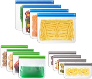 Vicloon Sac Congelation Reutilisable,12pcs Sac Stockage Nourriture Réutilisables,PEVA Sac de Conservation Nourriture Réuti...