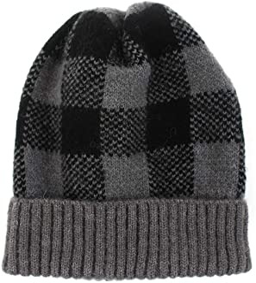OhhGo Women Winter Warm Knit Hat Plaid Soft Stretchy Beanie Cap