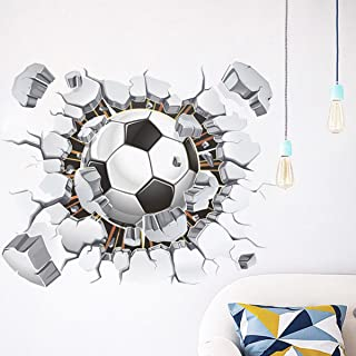 Broken 3D Soccer Ball Football Decorative Peel Vinyl Wall Stickers Wall Decals, DIY Removable Stick Baby Boys Girls Kids Room Nursery Wall Mural Decor