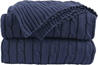 uxcell Cotton Cable Knit Throw Blanket - Lightweight Soft All Season - Solid Crochet Sweater Texture Knitted Blanket for Couch Sofa Bed Car Home Decoration,47 X 70 Inches, Navy Blue