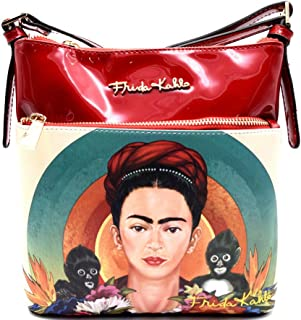 Authentic Frida Kahlo w/ Monkeys Cross Body Messenger- Red