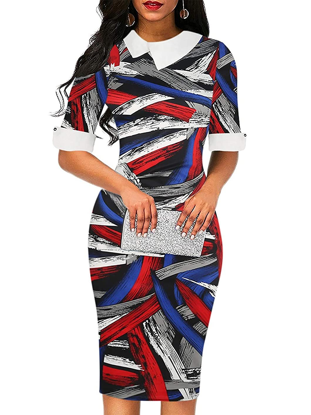 CISMARK Women's Retro Bodycon Doll Collar Knee-Length Formal Office Pencil Dresses