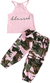 Little Toddler Baby Girl Outfits Sleeveless Shirt Vest Tank Tops Camouflage Pants Leggings Girls Summer Clothes Set
