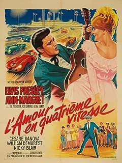 L'Amour en Quatrieme Vitesse - Elvis Presley (artist: Soubie) France c. 1964 - Vintage Advertisement (16x24 Giclee Gallery Print, Wall Decor Travel Poster)