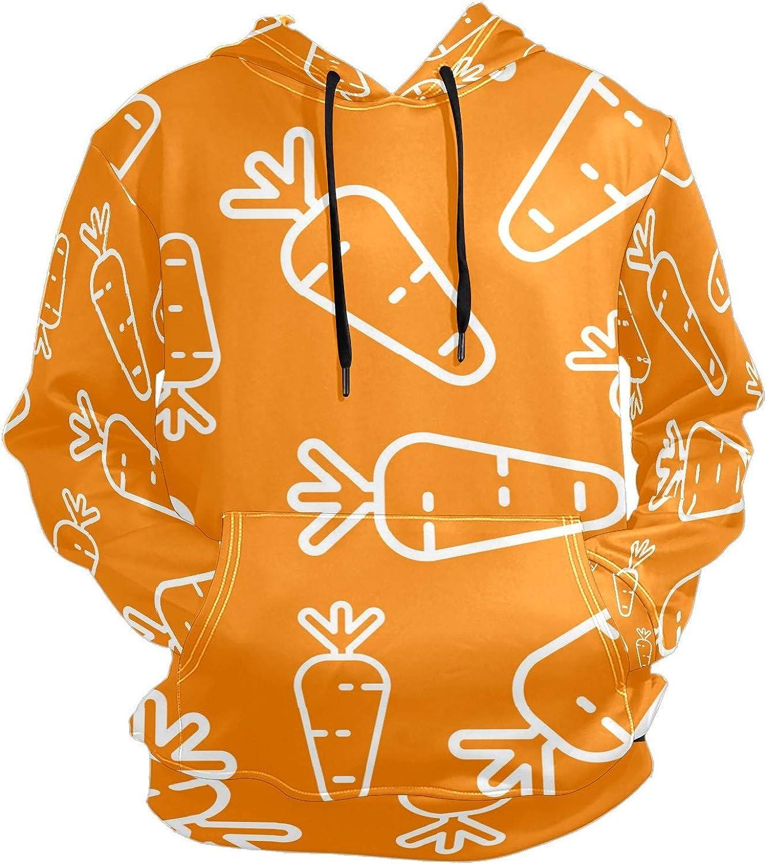 Orange Cute Carrot Mens Sport Hoodie Big and Tall Hoodies for Men Women Oversized Hooded Sweatshirt Hip Hop Pullover Hoodie Midweight Hood for Boys Girls