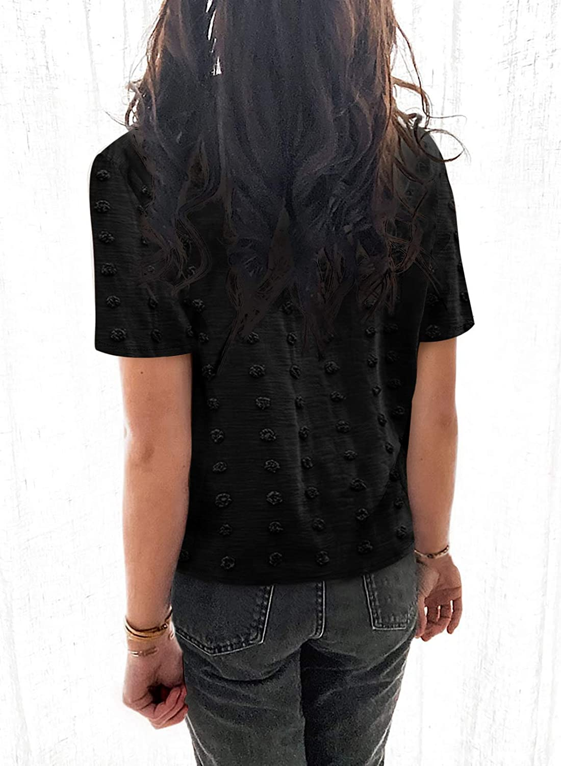 Astylish Women Pompom Button Down Shirt Casual Blouse Top