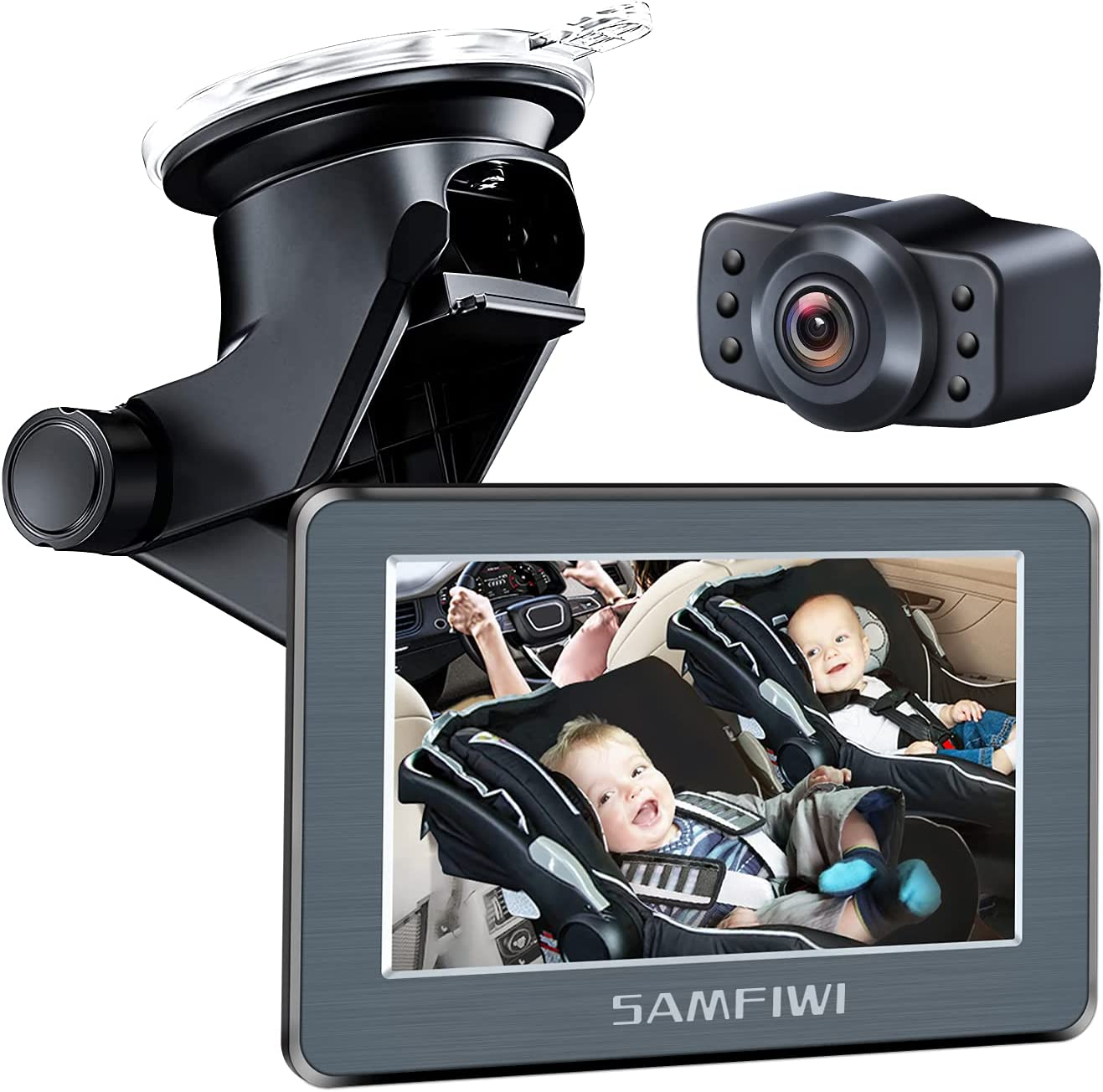 Baby Car Mirror Car Seat Mirror Camera with 5'' HD Infrared Night Vision Function Car Mirror Display, 170°Wide View, Stable Sucker Bracket, Best Baby Monitor and Camera for Baby Car Seat Rear Facing