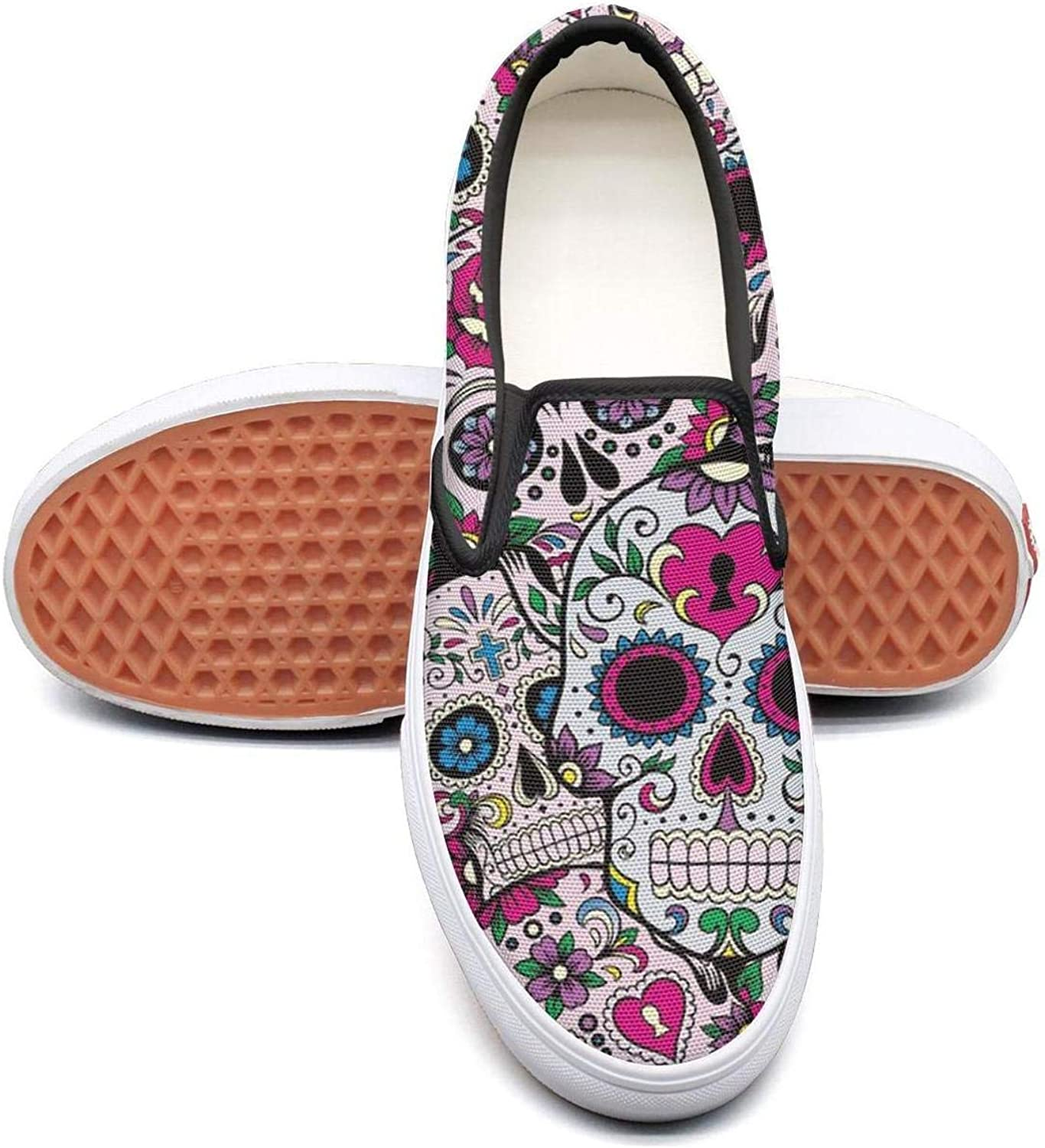 colorful Skull Pattern Slip On Rubber Sole Loafers Canvas shoes for Women Comfortable