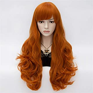 Hairpieces Long Orange Natural Wave Synthetic Wigs African American for Women Heat Resistant Fake Hair Piece with Side Ban...
