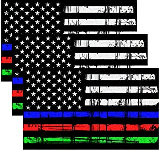 Best Creatrill Reflective Tattered Thin Blue Red Green Line Decal Matte Black – 3 Packs 3x5 in. American USA Flag Decal Stickers for Cars, Trucks, Hard Hat, Support Police Fire Officers Military Troops Review