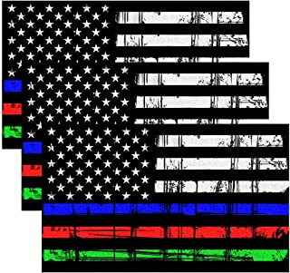 CREATRILL Reflective Tattered Thin Blue Red Green Line Decal Matte Black – 3 Packs 3x5 in. American USA Flag Decal Stickers for Cars, Trucks, Hard Hat, Support Police Fire Officers Military Troops