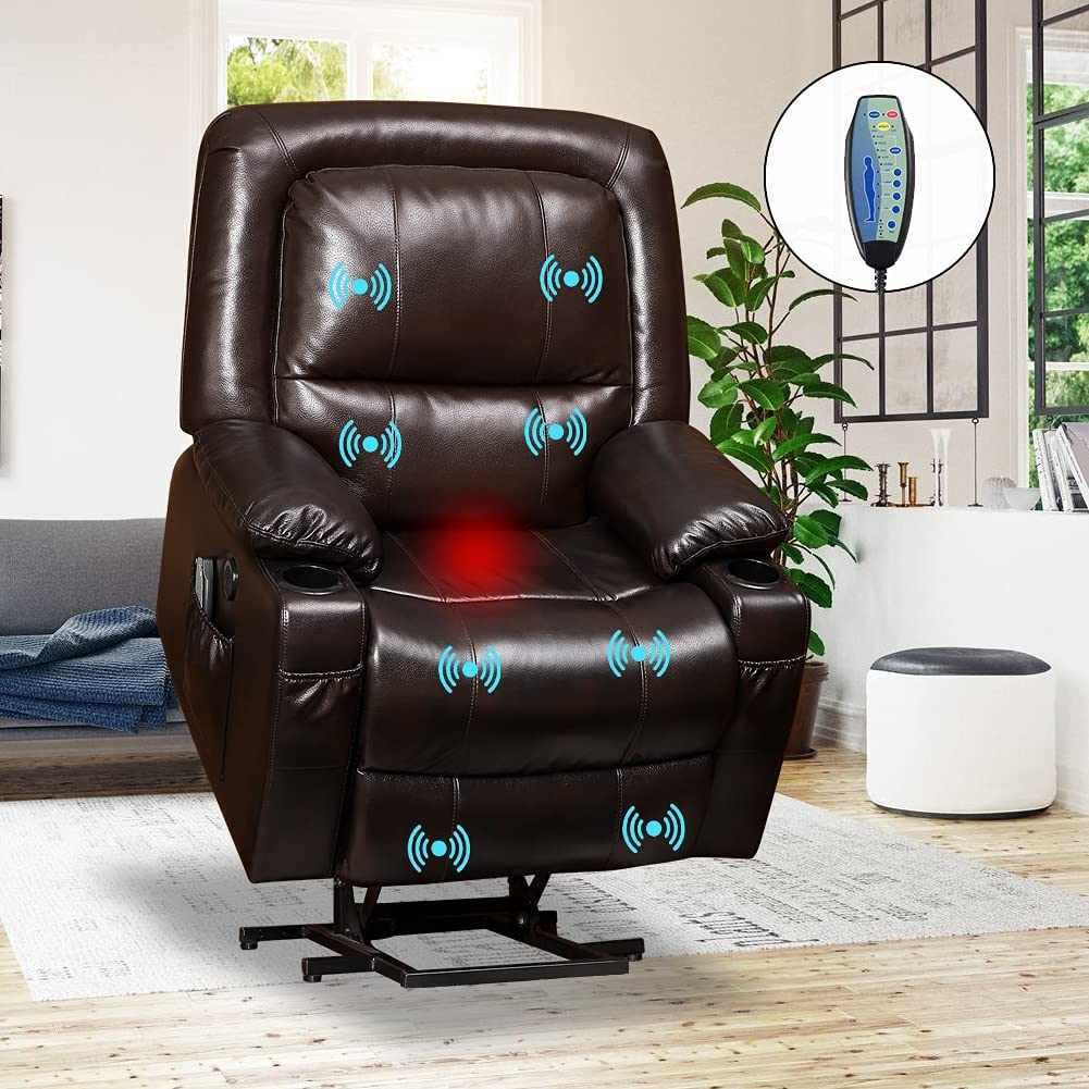 VUYUYU Power Lift Chairs Recliners - Breath Leather Recliner Chair for Elderly - Heated Vibration Massage Sofa for Living Room, 3 Positions, 4 Pockets and 2 Cup Holders (Brown - Style B)