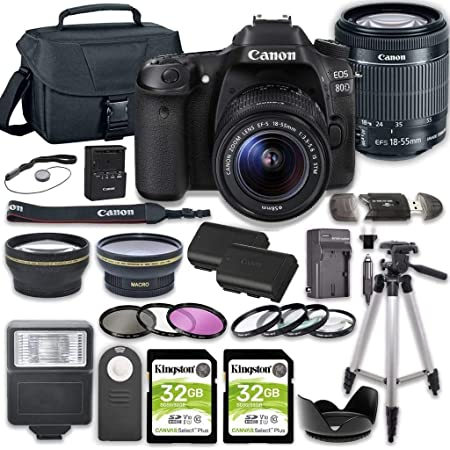EOS 80D DSLR Camera Bundle with 18-55mm STM Lens + 2pc Kingston 32GB Memory Cards + Accessory Kit