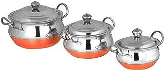 PARIJAT HANDICRAFT Stainless Steel Handi Cookware Set of 3 Pcs - Premium Stainless Steel 3 Pcs Handi Cookware Set - Copper...