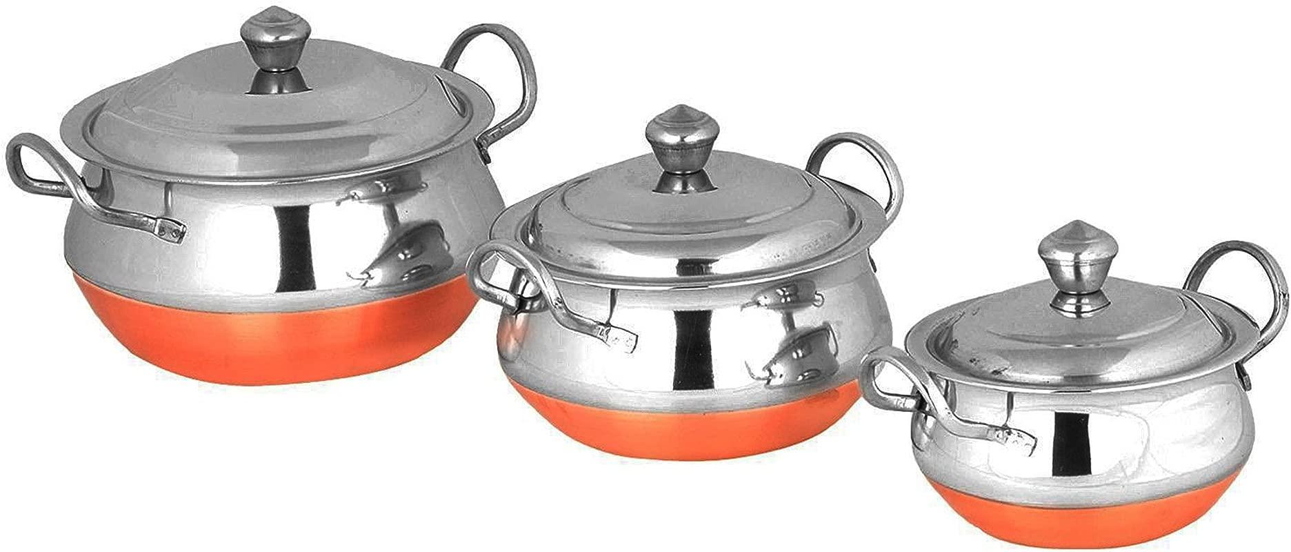 PARIJAT HANDICRAFT Stainless Steel Handi Cookware Set Of 3 Pcs PREMIUM Stainless Steel 3 Pcs Handi Cookware Set Copper Bottom