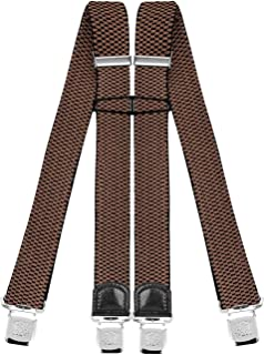 Decalen Mens Braces with Very Strong Clips Heavy Duty Suspenders One Size Fits All Wide Adjustable and Elastic X Style