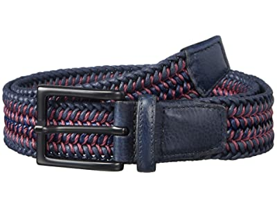 Torino Leather Co. 35 mm Italian Woven Cotton Leather (Navy/Burgundy) Men