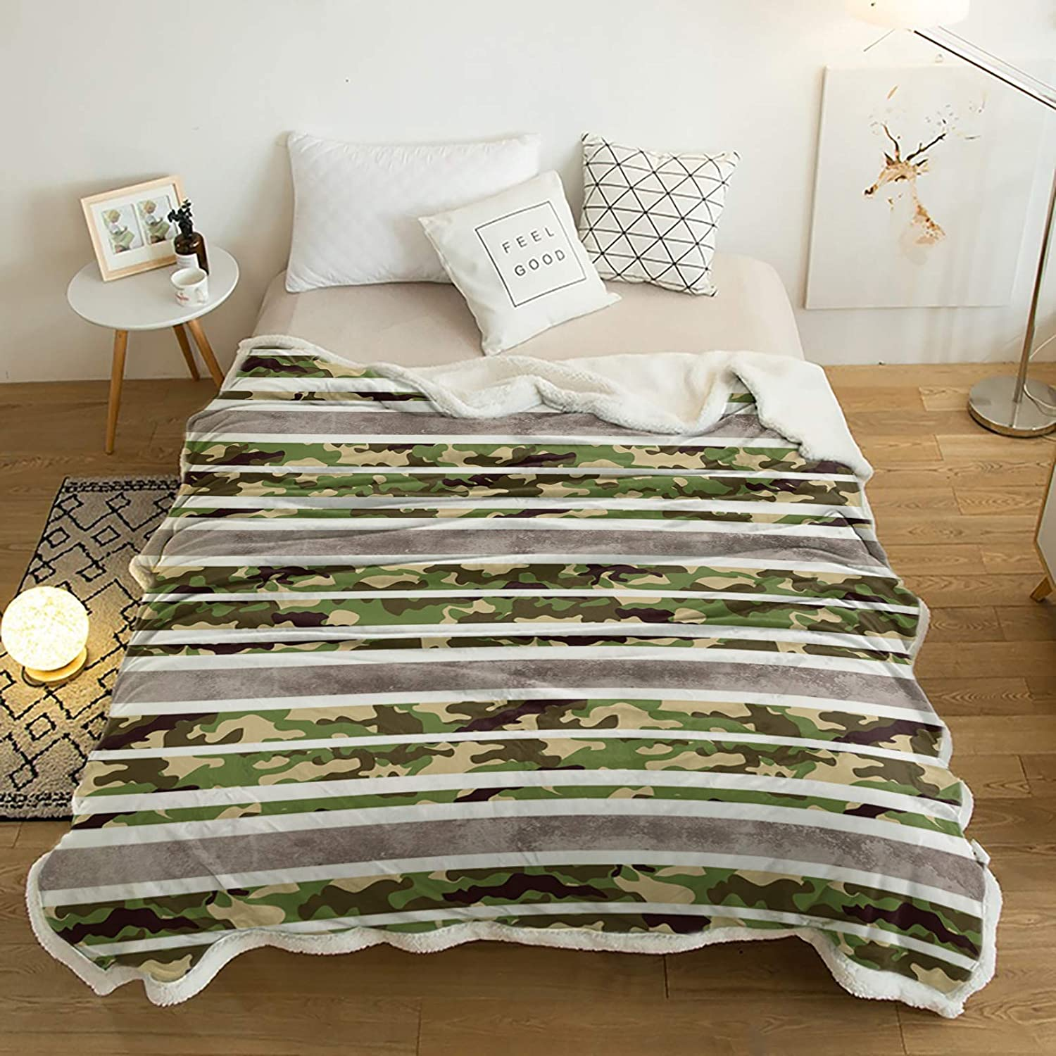 Sherpa Fleece Throw Blanket Art on Camouflage Military Indianapolis Mall R Max 69% OFF Stripes