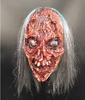 LUHUAISH AU Halloween Party Supplies Horror Long Hair Ghost Rubber Mask Bloody Mask