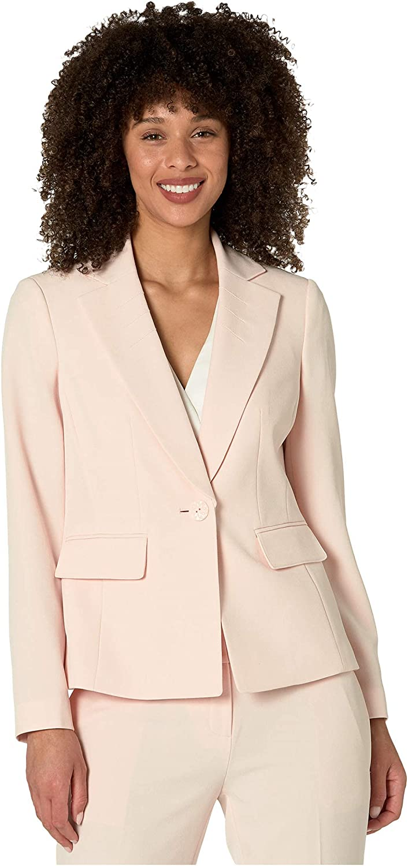 Le Suit Women's 1 Button Notch Collar Stretch Crepe Slim Pant Suit