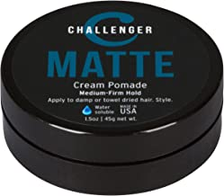 Matte Cream Pomade - Challenger 1.5oz Medium Firm Hold - Water Based, Clean & Subtle Scent. Best Hair Styling Cream, Wax, Fiber, Clay, Paste All In One