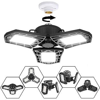 E27 LED Garage Light 6000K Deformable Ceiling Fixture Light Shop Workshop Lamp