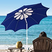 AMMSUN 7ft Beach Umbrella with Tilt Telescopic Pole and UPF 100+, Flower Vents Design and Portable Sun Shelter for Sand and Outdoor Activities, Carry Bag and Without Sand Anchor White/Blue Color