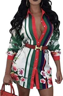 Women's Sexy Floral Print Simple Button Down Long Sleeve Collar Loose T-Shirt Blouse Tops Mini Dress