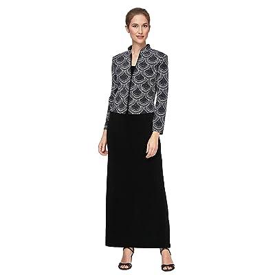 Alex Evenings Solid Column Dress with Printed Mandarin Neck Zip Jacket (Black/White) Women