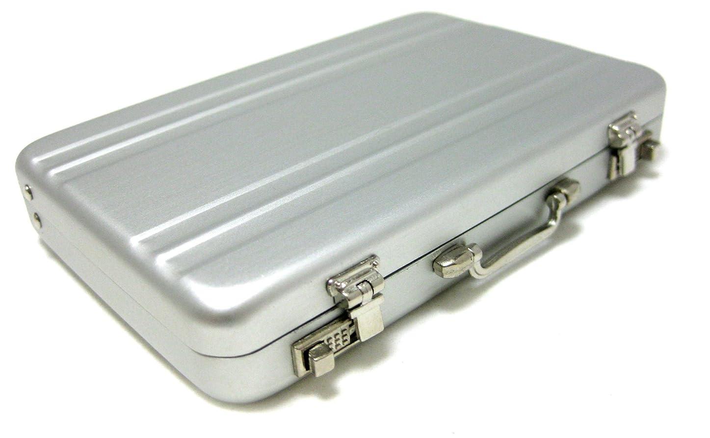 通訳デジタル忠誠5色 選べる ミニ アタッシュ ケース 型 名刺 入れ タバコ シガレット カード 小物 ケース としても 使えます (シルバー)
