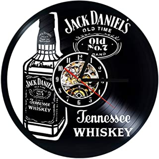 YUN Clock Wanduhr Aus Vinyl Schallplattenuhr Upcycling LED Jack Daniels Familien..