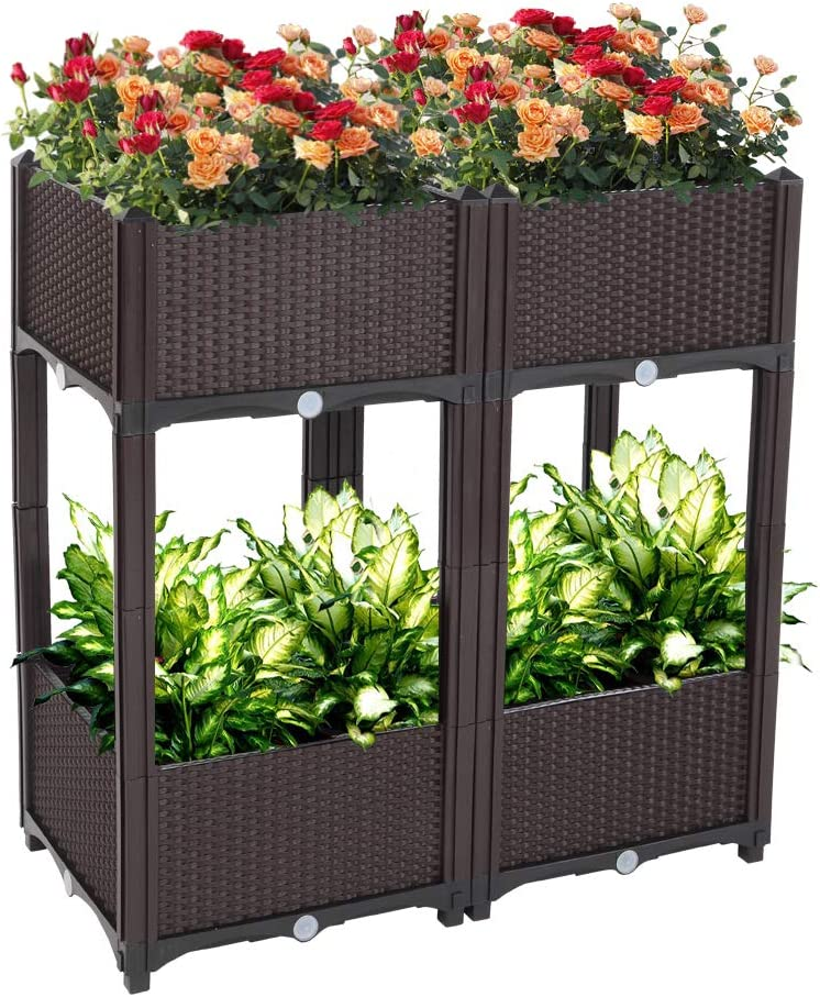 Binrrio Set of 4 Raised Ranking TOP13 Garden Year-end annual account G Planting Bed Kits Pots Elevated