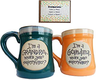 Grandparents Coffee Cup Novelty Gift from Grandchild for Grandma and Grandpa Couples Superpower
