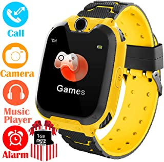 YENISEY Kids Smart Watch for Boys Girls - HD Touch Screen Sports Smartwatch Phone with Call Camera Games Recorder Alarm Music Player Gifts for Kids 4-7, Yellow