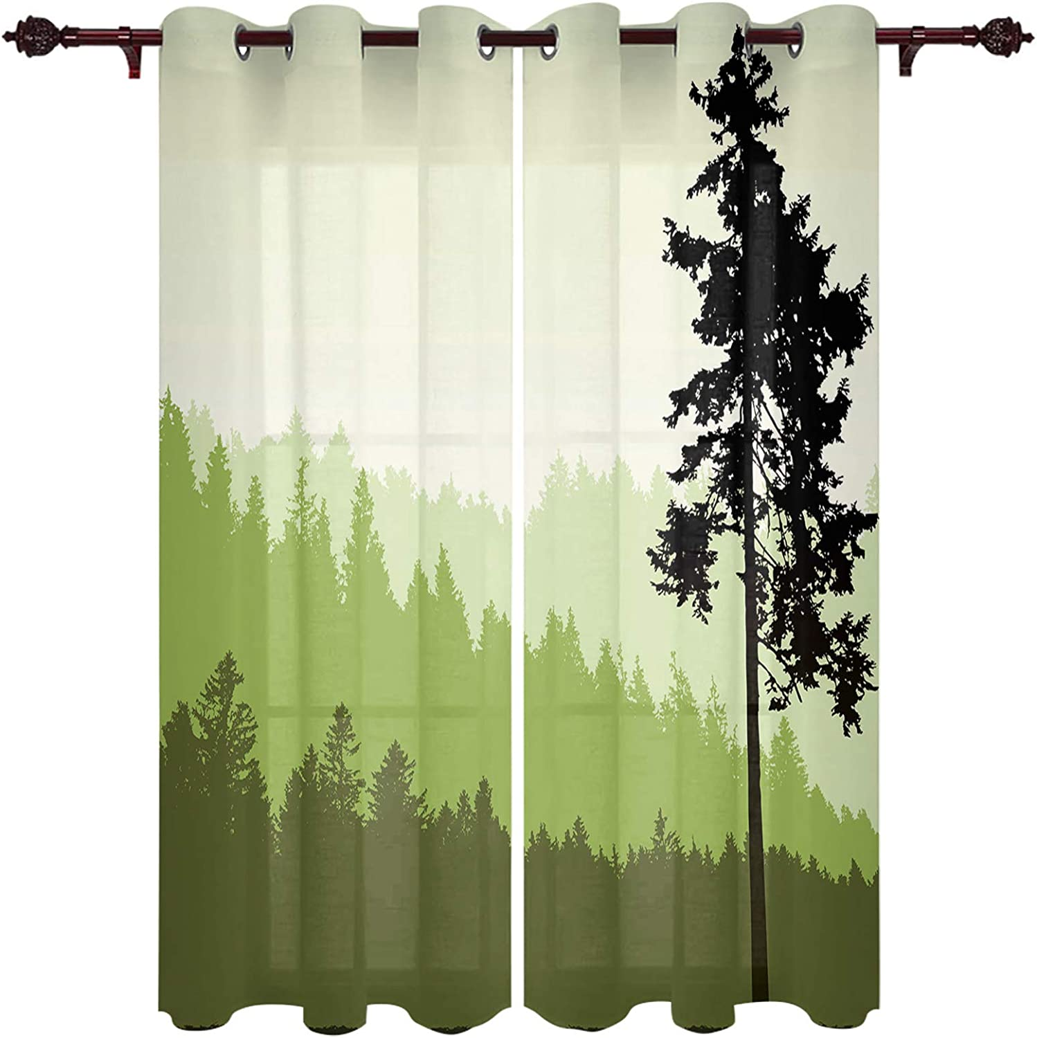 Curtains for Living Room low-pricing 63 Inch Length Drapes a Tree Pine Wind National products