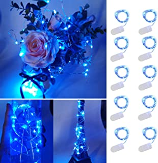 UNIQLED 10 Packs Starry String Lights Battery Operated Fairy Lights with 20 Micro LEDs Waterproof Copper Wire Firefly Night Lights for DIY, Wedding Decor, Party, Christmas, Holiday Decoration (Blue)